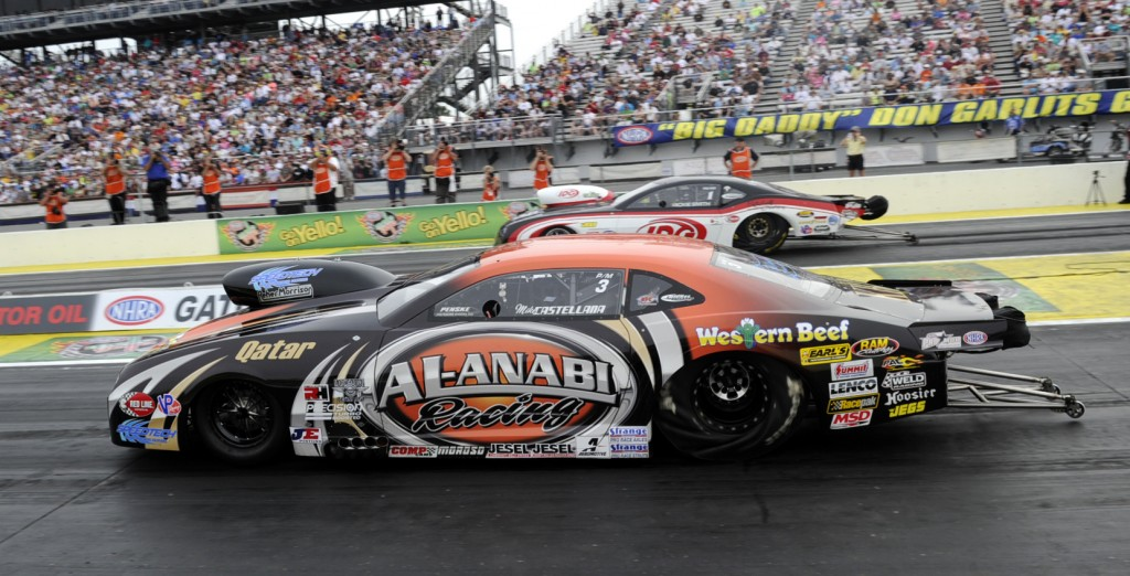 The Pro Mod final at Gainesville featured two wily veterans with Mike Castellana (near lane) taking the measure of Rickie Smith.