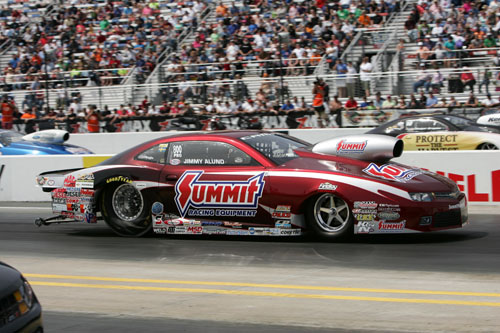 Sweden's Jimmy Alund drove the Summit Racing Chevy Camaro to a history making victory in Pro Stock