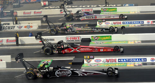 "NHRA's once-a-season ""Four Wide"" event format went down at zMAX Dragway"