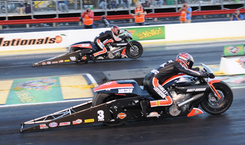 The Pro Stock Motorcycle cycle final was an all Screamin' Eagle HD affair.