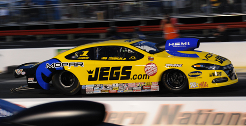 Defending NHRA World Champ Jeg Coughlin won with his Hemi-powered Dart for the first time.
