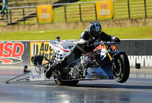 Leonard Azzopardi won for the first time in Top Fuel Bike