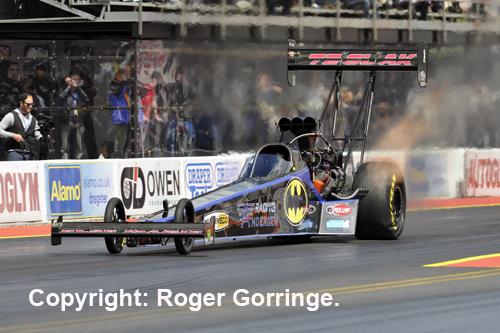 Defending FIA Top Fuel Champ Thomas Nataas paced qualifying