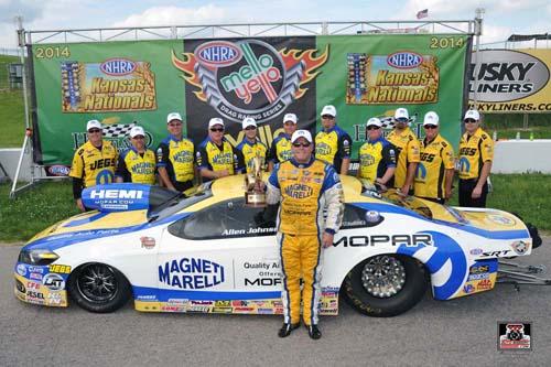 Allen Johnson & crew celebrate their 3rd win of the 2014 season in Pro Stock