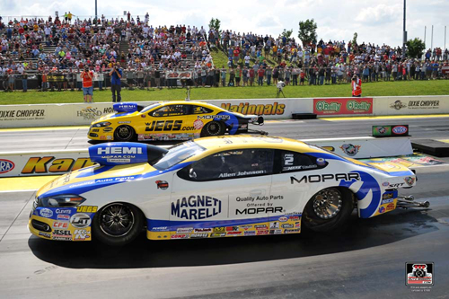 The Pro Stock final was all Mopar with Allen Johnson edging out his teammate Jeg Coughlin.
