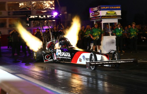 Allan Dobson won Top Fuel two evenings in a row driving Santo Raspasida's potent machine.