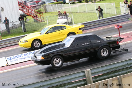 Paul Silva would run a SRP drag radial record time of 5.05 at 144mph to take the East vs. West ShootOut.