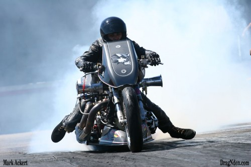 Nate Gagnon putting some heat in the tire on his way to the Nitro Harley win!