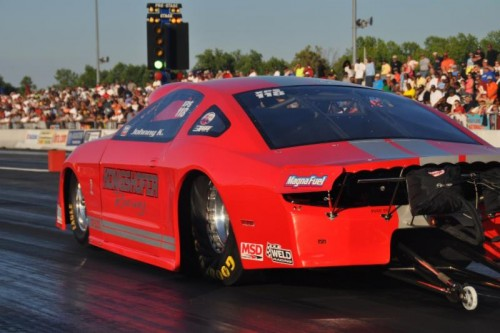 "John Konigshofer rode the ""Konigshofer Brothers"" Ford Mustang to victory during the IHRA's President's Cup Nationals."