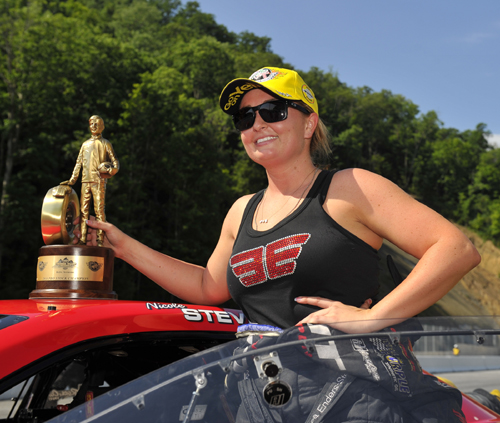 Erica Enders-Stevens collected the 101st win for lady Pro racers in NHRA