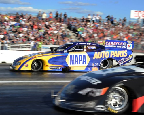 Ron Capps raced his DSR Napa Auto Parts Dodge to victory in FC at NHRA New England
