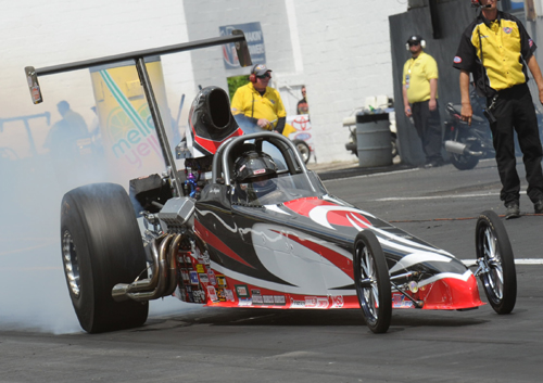 Top running Luc Angers (from Laval PQ) raced his Dan Page dragster in the event's Top Dragster program.