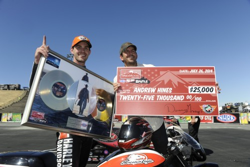 Andrew Hines celebrates his MiraMonte Records Pro Bike Battle event victory