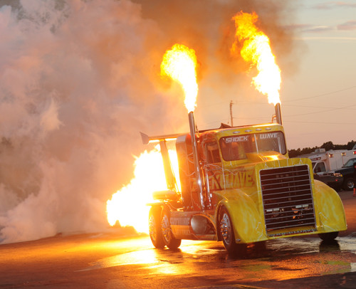 "The triple-engined ""Shockwave"" Jet truck returns."