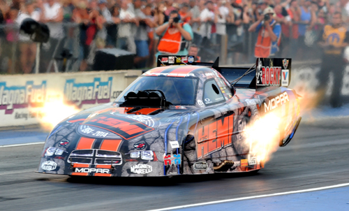 """Matt Hagan ran his special edition """"Elephant"""" Charger body at Denver for the first time."""