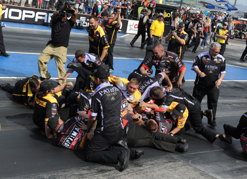 Look out Below!  Kalitta Motorsports had one of their rather infamous Mosh Pits immediately following JR Todd's TF win.