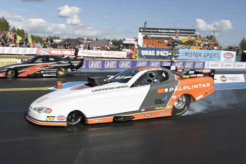 Johan Lindberg winner of Top Methanol Funny Car.