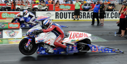 The Pro Stock Motorcycle final was all Lucas Oil and all Buell.