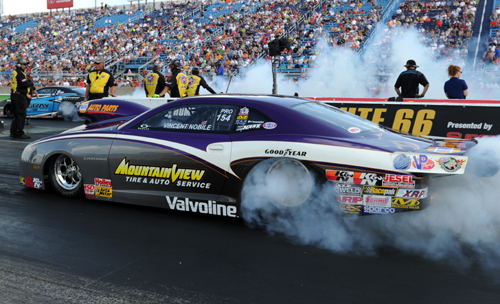 Vincent Nobile won his first race since switching from Mopar to Chevrolet in Pro Stock