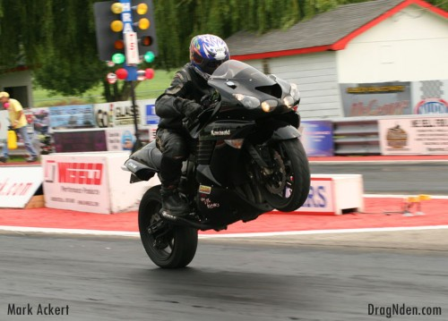 Randy Hope rides out a monster wheelie in No Bar Crazy 8's action