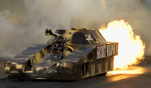 Edmonton's highly talented home town racer Tim Boychuk took some rides in the jet powered Secret Weapon - one of many exhibition vehicles on-hand.