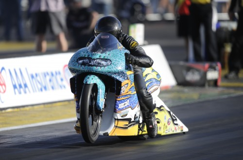 Louisiana's Jerry Savoie scored his first career win in Pro Stock Motorcycle