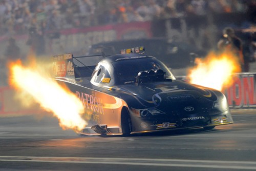Lady racer sensation - Alexis DeJoria - emerged victorious in fuel Funny Car