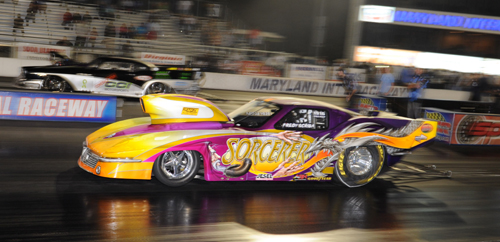 "Fredy Scriba drove his ""Sourcerer"" Corvette to the  title at MIR's International Pro Mod Challenge"