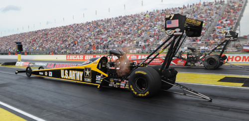 Tony Schumacher recorded low ET of the event when he won the final round of the Traxxas Shootout for TF cars.