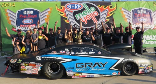 Pro Stock racing produced a first time win for Chevy Camaro pilot - Jonathan Gray