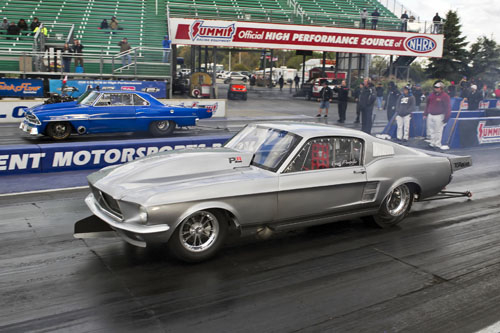 In an exciting All Canadian Outlaw 10.5 final was Frank Pompilio in his awesome twin turbo 67 Mustang  going against Tony Basso in his Supercharged 67 Chevy II. Pompilio would be victorious.