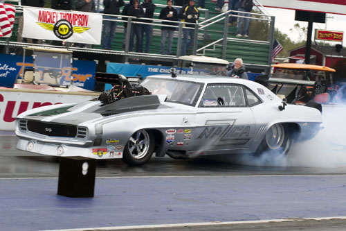 Jack Brohman of Jarvis Ont runs a 4.129 @172.61mph during rd1 in his 69 Camaro