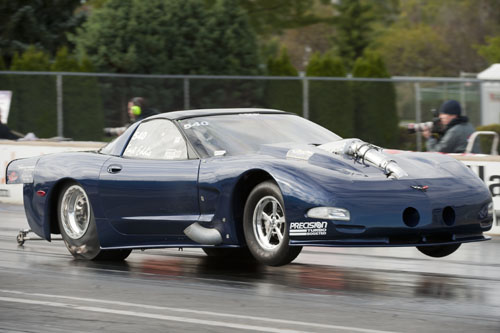 Eddie Timal  of Mississauga Ont and his 2000 Corvette in the Outlaw 10.5 class qualifies 8th.