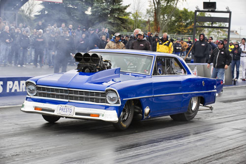 Tony Basso of Oakville Ont qualified last - but everyone knew he had what it takes to go some rounds in his super clean 67 Chevy II. He finished in the runner up spot.