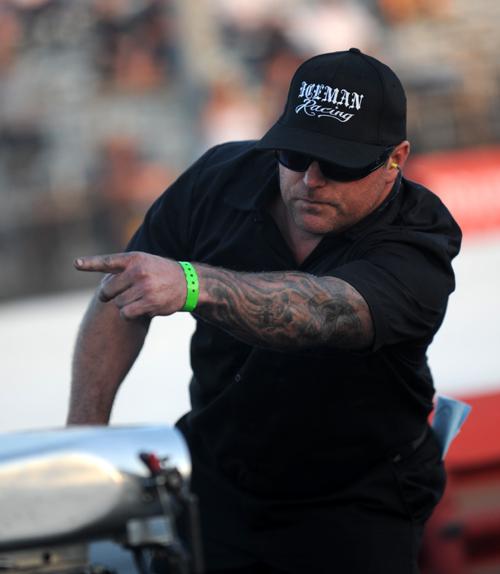 """Iceman"" Funny Car crew man  sends his driver Tim Nemeth on his way!"