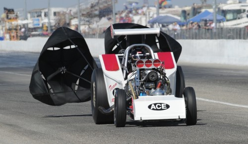 Troy Sitko brings his machine to a stop after a 7.028 secs run - to qualify #4 in Pro 7.0.