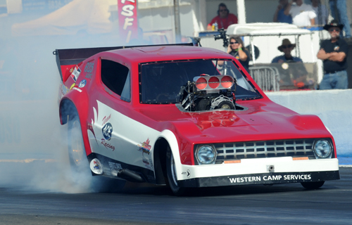 """Nathan Sitko entered the """"Team Ace"""" Plymouth Arrow in Nitro FC but missed the swift 5.984 secs bump."""