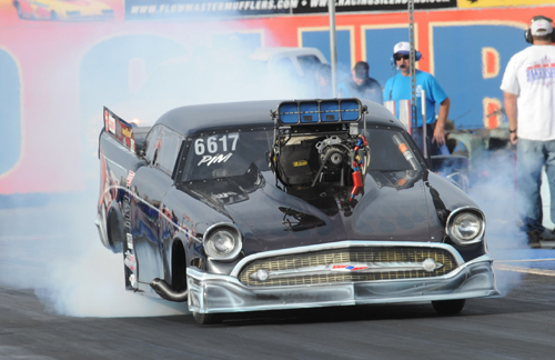 Wade Sjostrom (from Edmonton) tried his hand in the Pro Mod program but just missed the 8-car bump driving his '57 Chevy