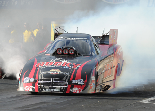 Matt Hagan emerged as NHRA's overall Funny Car points leader following his win at Maple Grove Raceway