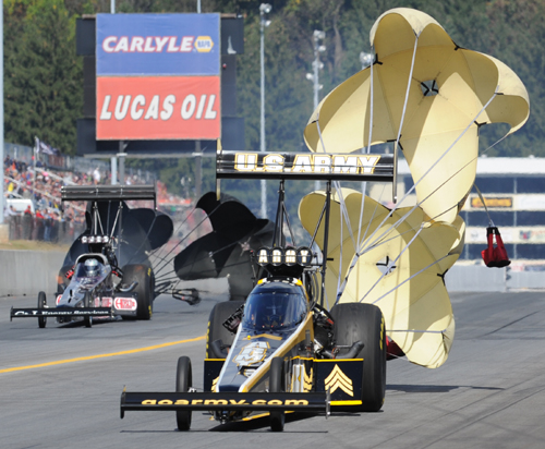 Tony Schumacher extended his points lead with his 5th win of the season in Top Fuel