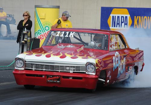 Belleville Ontario's Steve Boardman ran his Red Hot Racing Chevy Nova in Super Gas