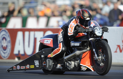 Matt Hines clinched the NHRA World title for PSM when he won his first round match
