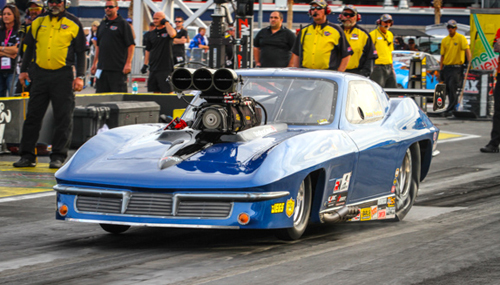 Las Vegas: Ontario's Al Billes entered his supercharged Pro Mod Corvette at the event with Pete Farber at the controls.  They qualified on the bump at 5.979 secs
