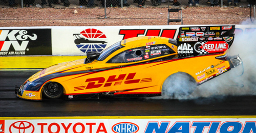 Del Worsham picked up his first FC win since 2009 driving the all new DHL '15 Toyota