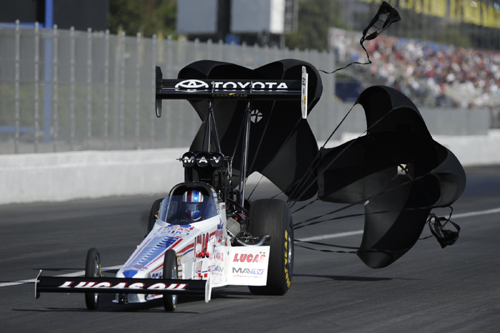"Morgan Lucas closed out his ""part time"" NHRA Top Fuel season with an impressive victory."