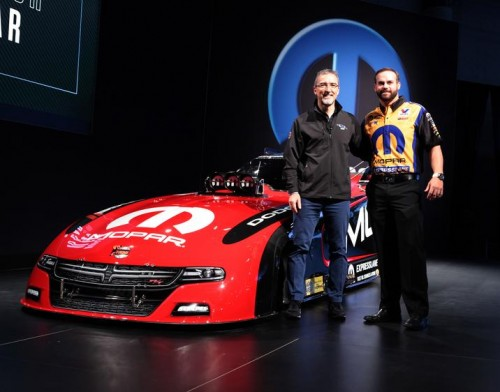Matt Hagan with Pietro Gorlier, President and CEO—Mopar Service, Parts and Customer Care - during unveiling.