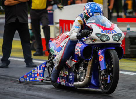 Hector Arana Jr won for the 9th time in his career in Pro  Stock Motorcycle