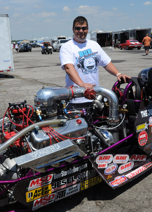 Glen Vardy with his record setting Top Dragster
