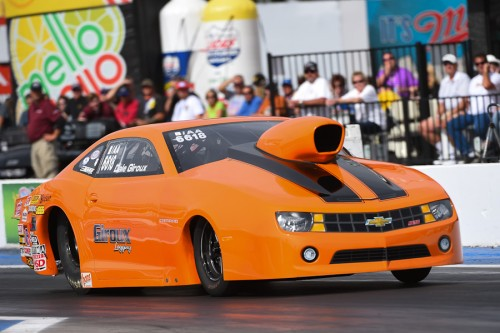 Dale Giroux advanced his new Chevy Camaro B/AA to the 2nd round in Competition eliminator.