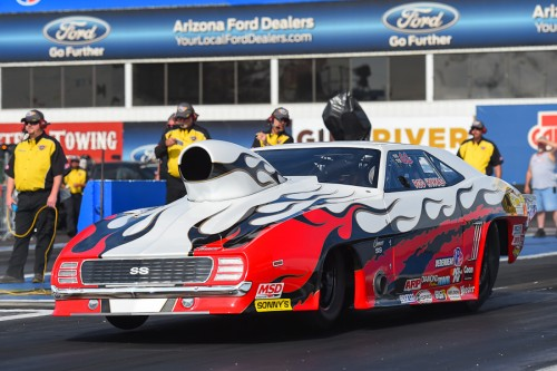 Defending NHRA Division 6 Champ Rod Hymas broke out in round one of Top Sportsman.